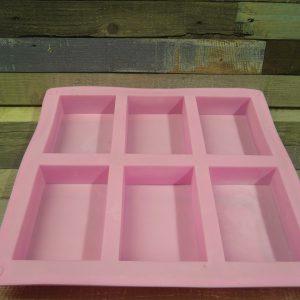 Téglalap alakú szilikon szappanforma, 6db-os